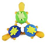 Cute Tortoise Eraser Gift DIY Turtle Detachable Student Pencil Rubber for Kid (Random Color)