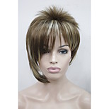 Asymmetric Light Brown Mix Blonde Inclined Bangs Short Straight Synthetic Hair Women's Wig