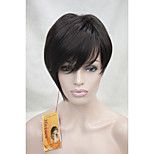 High Quality Heat Resistance Synthetic Fiber Asymmetrical Tilted Bangs Dark BrownShort Wig