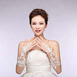 Bridal Gloves Satin/Lace Elbow Length Wedding/Party Cut Out Lace Glove White