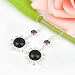 Sparkling Gift for Family Night Stars Sun Sitar Gem 925 Silver Stud Earrings For Wedding Party Daily Holiday 1Pairs