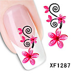 5Pcs Beautiful Red Flowers Pattern 3D Nail Stickers