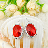 Newest Gift Antique Oval Shaped Fire Red Quartz Gem 925 Silver Drop Earrings For Wedding Party Daily Holiday 1Pairs