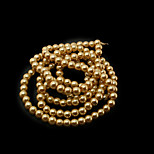 Beadia 3 Str(approx 430pcs) Glass Beads 6mm Round Imitation Pearl Beads Yellow Color DIY Spacer Loose Beads