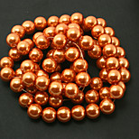 Beadia 2 Str(approx 180pcs) 10mm Round Glass Beads Orange Color Imitation Pearl Beads DIY Spacer Loose Beads