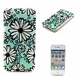 COCO FUN® Green Daisy Pattern Soft TPU IMD Back Case Cover for iPhone 4/4S