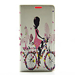 Butterfly Girl Ride Bike Pattern Diamond Wallet Style PU Leather with Card Slot Case for Sony Z4