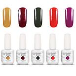 Gelpolish Nail Art Soak Off UV Nail Gel Polish Color Gel Manicure Kit 5 Colors Set S101
