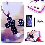 KARZEA™Cross Necklace Pattern PU Leather Case with Screen Protector and Stylus and Dust Plug for Sony Xperia Z3mini