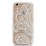 White Printing Pattern Thin Transparent Hollow PC Phone Case for iPhone 6