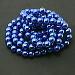 Beadia 2 Str(approx 230pcs) Glass Beads 8mm Round Imitation Pearl Beads Dark Blue Color DIY Spacer Loose Beads