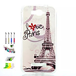 Tower Pattern Painted Soft Phone Case And Dust Plug Stylus Pen Stand Combination for Alcatel C7
