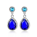 Sparkling Family Gift Vintage Swiss Blue Topaz Gem 925 Silver Stud Earrings For Wedding Party Daily Holiday 1Pairs