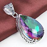 Unique Antique Fire Drop Rainbow Mystic Topaz Gem 925 Silver Necklaces Pendants For Wedding Party Daily Casual 1pc