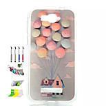 Balloon Pattern Painted Soft Phone Case And Dust Plug Stylus Pen Stand Combination for Alcatel C7