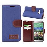 Luxus-Denim u Leder Karteninhaber Geldbörse Flip-Köchertasche für HTC m8 mini (Farbe sortiert)