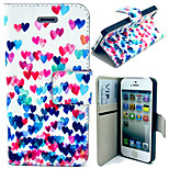 Colorful Heart Pattern with Card Bag Full Body Case for iPhone 4/4S