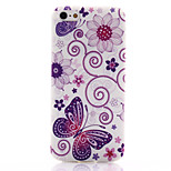 Purple Butterfly Pattern TPU Soft Material Phone Case for iPhone 5/5S