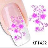5Pcs Fashion Purple Flower Pattern 3D Nail Stickers