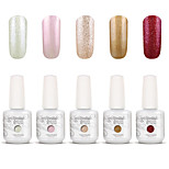 Gelpolish Nail Art Soak Off UV Nail Gel Polish Color Gel Manicure Kit 5 Colors Set S110