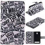 Cartoon Letters Pattern PU Leather Full Body Case with Stand and Protective Film for Sony Xperia E1