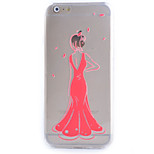 Slim Transparent Red Dress Pattern Soft Phone Case for iPhone 6