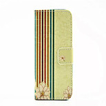 Stripe Pattern PU Leather Phone Case For iPhone 5/5S