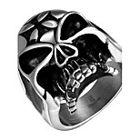 Terrorist Skulls Cross Exaggerated Personality Rock Titanium Steel Stainless Steel Men's Ring