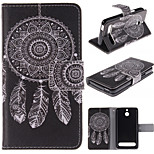 White Dreamcatcher Pattern PU Leather Full Body Case with Stand and Protective Film for Sony Xperia E1