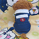 Holdhoney Blue With Pockets Heart Cowboys Clothes Sleeveless Jacket For Pets Dogs (Assorted Sizes) #LT15050103