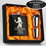 Personalized Gift 6 oz Black Model Lady Design Stainless Steel Hip Flask 4 Piece Set