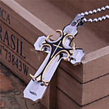 Fashion Three Layer Cross Titanium-Steel Pendant(Gold)(1Pc)