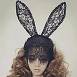 Lace Rabbit Bunny Ears Veil headbands Mask Hair Accessories