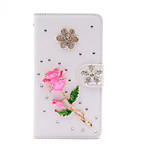 Rhinestone Diamonds Crystal Pink Rose PU Leather Cover Case with Kickstand and Card Slot for Samsung Galaxy S6