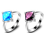 Party Jewelry Square Fire Blue Topaz Amethyst Gem 925 Silver Statement Rings For Wedding Party Daily Casual 1pc