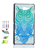Owl Pattern Black Matte PC Material Phone Case And Dust Plug Stylus Pen Stand Combination for Sony M2