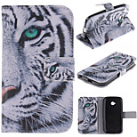 White Tiger Design PU Leather Full Body Case with Stand and Protective Film for Motorola Moto E2