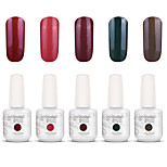 Gelpolish Nail Art Soak Off UV Nail Gel Polish Color Gel Manicure Kit 5 Colors Set S133