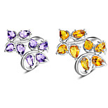 Special Fire Brazil Citrine Amethyst Gem 925 Silver Statement Leaf Rings For Wedding Party Daily Casual 1pc