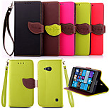 Vintage Magnetic Leaf Design Pu Leather Wallet Case for Nokia Lumia N730 Flip Cover with Stand Card Slots