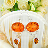 Artistic Family Gift Fire Oval Amber Brazil Citrine Gem 925 Silver Stud Earrings For Wedding Party Daily Holiday 1Pairs