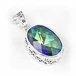 Thanksgiving Gift Vintage Fire Mystic Topaz Gem 925 Silver Pendants for Necklaces For Wedding Party Daily Casual 1pc