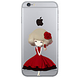 Flower Girl Pattern PC Hard Case with Screen Protector for iPhone 6 Plus