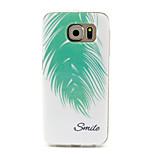 grön fjäder leende mönster TPU mjuk väska till Samsung Galaxy s6