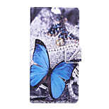 Blue Butterfly Pattern PU Leather Full Body Case with Stand and Card Slot for Sony Xperia C4