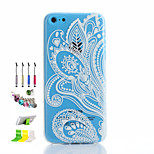 White Printing Pattern Thin Transparent Hollow TPU Phone Case And Dust Plug Stylus Pen Stand Combination for iPhone 5C