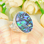 Classic Family Gift Fire Natural Abalone Shell Gem 925 Silver Statement Rings For Wedding Party Daily Casual 1pc
