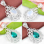 Dazzling Fire Green Quartz Moonstone Gem 925 Silver Pendants for Necklaces For Wedding Party Daily 1pc