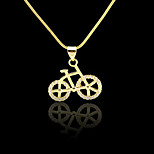 18K Real Golden Plated Bicycle Zircon Micro-Inclosed Pendant 1.9*2CM