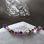 Women's Fashion Colourfull Crystal Rhinestone Hand Chain Ring Bracelet